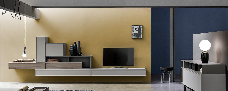 Soggiorno moderno libreria componibile legno artigianale classico design